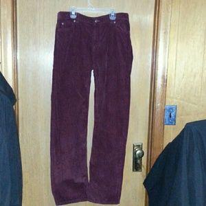 Lands End gently worn boys burgundy corduroy pants